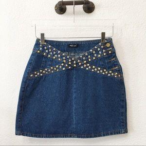 Nasty Gal Studded Denim Mini Skirt